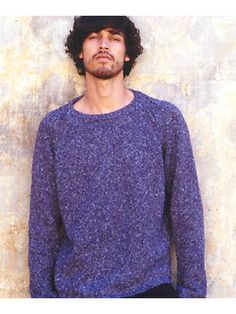 Man wearing Rowan Fusion men's jumper free knitting pattern allaboutyou.com. I can imagine people wanting to knit the man