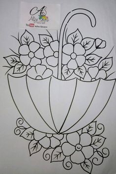 T T umbrella flower filled Embroidery Flowers Pattern, Learn Embroidery, Applique Patterns, Ribbon Embroidery, Embroidery Stitches, Cross Stitch Patterns, Embroidery Designs, Art Drawings For Kids, Easy Drawings