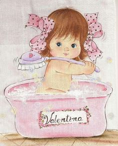 bathing.quenalbertini: Christine Haworth Art | Live Internet Baby Painting, Fabric Painting, Clip Art Pictures, Cute Pictures, Cross Stitch For Kids, Cute Baby Dolls, Baby Drawing, Cute Images, Vintage Postcards