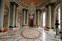 18TH CENTURY, Germany - Georg von Knobelsdorff (1699-1753): Marmorsaal at Sanssouci, 1740-6 , Potsdam