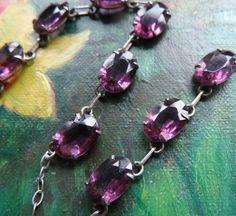 vintage art deco purple rhinestone glass open set by katywroe