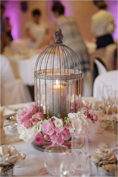 Wedding candle birdcage | Image by Zephyr et Luna, read more http://www.frenchweddingstyle.com/charming-wedding-in-auvergne/