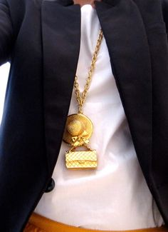 Chanel hat & bag charm long necklace  necklace#charm#Chanel