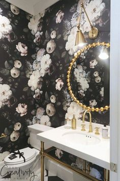 Black and white floral powder room wallpaper. Black and white floral powder room wallpaper. Bathroom Wallpaper Trends, Powder Room Wallpaper, Of Wallpaper, Bathroom Wallpaper Black And White, Bathroom Black, Wallpaper Designs, Modern Wallpaper, Home Design, Design Shop