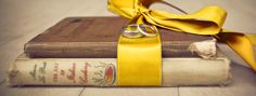 Books tied with Ribbon Ring Pillow Alternative. Beauty and the Beast Wedding.
