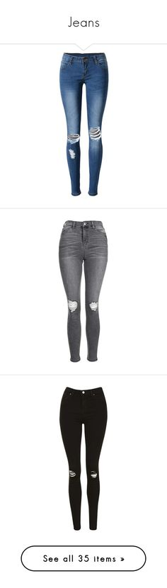 """""""Jeans"""" by qrxx ❤ liked on Polyvore featuring jeans, pants, bottoms, calças, blue jeans, ripped patched jeans, ripped blue jeans, slim fit ripped jeans, ripped jeans and calça"""