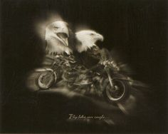 "Black and White Motorcycle ""Fly Like an Eagle"" 