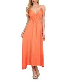 BellaBerry USA Peach Twist Surplice Maxi Dress | zulily
