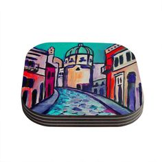 Kess InHouse Theresa Giolzetti 'Procida Teal' Red Coasters