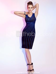 Sheath/Column V-neck Knee-length Elastic Woven Satin And Tulle Cocktail Dress With A Wrap - US$ 179.99