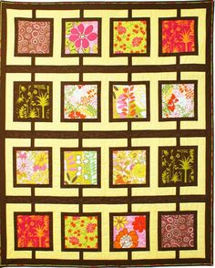 lovely quilt to showcase fabrics Flower Fabric, Cute Quilts, Project Free, Robert Kaufman, Kona Cotton, Tile Ideas, Square Quilt, Quilting Projects, Spy