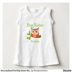 Personalized Owl Big Sister Sleeveless Dress T-shirt