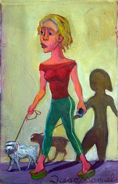 """""""La chica de al lado"""", acrylic on canvas, 18 x 28 cm., year 2016"""