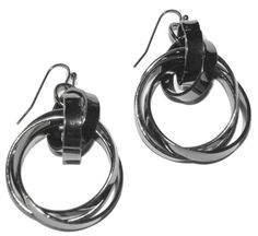 """Twisted Circle Drops - Silver $12.95  An update to the classic circle drop earring. Hoops with a """"twist"""", fun and chic! Also available in Black hematite (2 in stock). 1 1/4"""" triple circles hang from 3/4"""" double circle extension. 2"""" total drop length. #earrings #accessories #fashion #jewelry"""