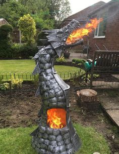 Fire Breathing Dragon Log Wood Burner Gas Bottle Chimenea Game of Thrones