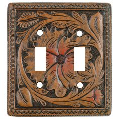 Tooled Leather Switch plate Covers.