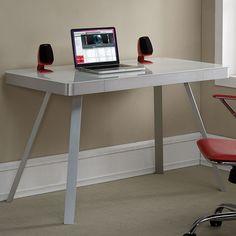 Modern Writing Computer Desk with Tempered Glass Top + Storage Drawer Stylish