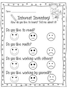 FIRST DAY OF SCHOOL PACK: ACTIVITIES, GAMES, AND WORKSHEETS FOR THE 1ST DAY! - TeachersPayTeachers.com - Interest Inventory
