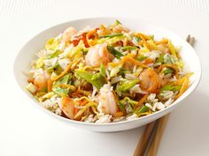 Shrimp Fried Rice recipe from Food Network Kitchen via Food Network. Subbed coconut aminos for soy sauce for gluten free, and used butter instead of vegetable oil. Shrimp Recipes, Rice Recipes, Asian Recipes, Cooking Recipes, Healthy Recipes, Ethnic Recipes, Asian Foods, Delicious Recipes, Recipes