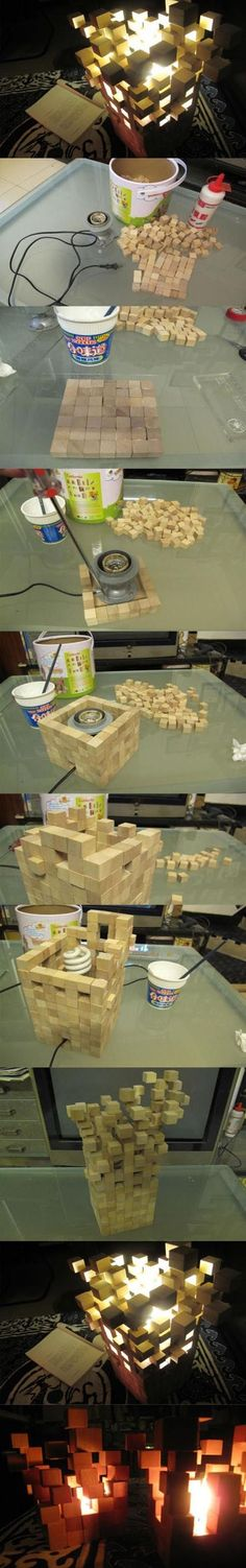 diy Awesome Desk Lamp Hmmm endless possibilities with this idea. You could paint the blocks or even add things between the gaps.