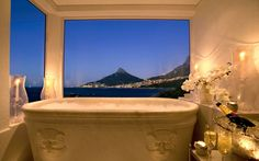 hotel bathroom The Twelve Apostles Hotel and Spa in Cape Town, South Africa a Leading Hotels of the Worldproperty -- stands at the very edge of the Atlantic, surrounded by acres of marine coastal nature reserves. Jacuzzi, Top 10 Hotels, Best Hotels, Romantic Bubble Bath, Luxury Hotel Bathroom, Hotel Bathrooms, Luxurious Bathrooms, South Africa Honeymoon, Les Seychelles