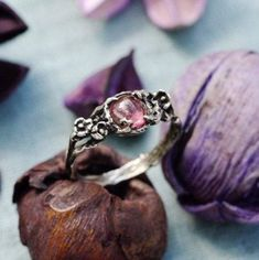 """Pink Tourmaline Engagement ring """"Amelie"""" MADE TO ORDER, Alternative Engagement ring-Sterling Silver ring-Promise ring-Flower ring-twig ring Alternative Engagement Rings, Antique Engagement Rings, Ring Engagement, Rose Gold Promise Ring, Promise Rings, Pink Tourmaline Ring, Diamond Solitaire Rings, Diamond Jewelry, Silver Jewelry"""