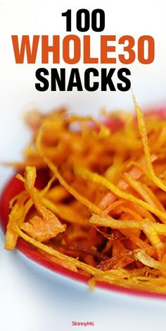 We've compiled a list of 100 foods that'll hold you over between meals. Clean, nutritious, and wholesome, these scrumptious snacks will help you stay on track and get you through the program victoriously! 2 week diet whole 30 Whole 30 Snacks, Whole 30 Diet, Paleo Whole 30, Whole 30 Recipes, List Of Whole Foods, Whole 30 Meals, Whole 30 Lunch, Clean Eating Recipes, Clean Eating Snacks