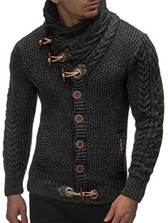 Leif Nelson Men's Knitted Turtleneck Cardigan - X-Large ...