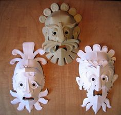 Paper sculpture is a technique that until recently was widely forgotten. Cardboard Mask, Cardboard Sculpture, Paper Sculptures, Art For Kids, Crafts For Kids, Arts And Crafts, Paper Crafts, Sculpture Techniques, Sculpture Lessons