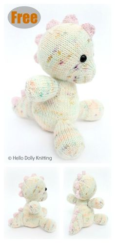 This Daisy the Baby Dino Amigurumi Free Knitting Pattern will keep your little ones entertained until they grow out stuffed animals completely. Knitting Loom Dolls, Knitting Dolls Free Patterns, Knitted Dolls Free, Yarn Dolls, Crochet Patterns Amigurumi, Free Knitting, Knitting Charts, Knitted Stuffed Animals, Knitted Animals