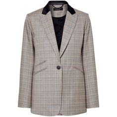 rag & bone Ridley velvet-trimmed checked wool and cotton-blend blazer (34.660 RUB) ❤ liked on Polyvore featuring outerwear, jackets, blazers, grey, grey wool jacket, gray jacket, gray wool jacket, wool jacket and multi color blazer