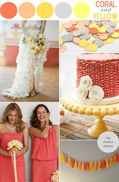 The Perfect Palette: Wedding Inspiration | Coral and Yellow http://www.theperfectpalette.com/2013/04/wedding-inspiration-coral-and-yellow.html