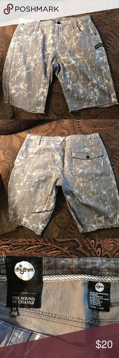 Rhythm Gray acid wash cutoff shorts size 31 skinny Never worn. Got too fat before I could fit into them. Really cool cutoffs. Skinny and stretchy. Vintage acid wash. Great for summer hipster Rhythm Shorts Jean Shorts