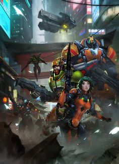 """Engage """"Elite Invincible Chinese Yu Jing Units deploy inmediatly to stablish a safe perimeter in a conflict zone."""" by   Bagus Hutomo concept artist, Illustrator, Comic Artist"""