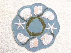 20% OFF PATTERN - Day At The Beach - Wool Applique Candle Mat