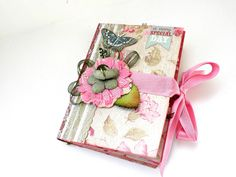 Shabby chic mini album, Mother's day gift,Photo memories album, Scrapbook album, Elegant mini album in pink and green shades by sweetpaperlife on Etsy