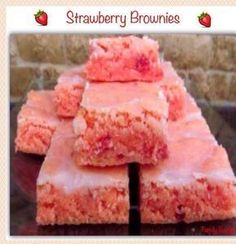 """Strawberry Brownies Serves: 10-12 Ingredients 1 box strawberry cake mix (I use Duncan Hines)2 eggs1/3 cup oil1 cup powdered sugar ½ -2 TB water or milk Instructions Mix strawberry cake mix, eggs, and oil until well combined. Spread in 9 X 13 pan lined with parchment paper (lining makes it easy to lift entire contents from pan for glazing and cutting). Bake at 350 degrees for 15 minutes or until done in center. Be careful to remove before edges brown; these taste best when """"just done"""" rat"""