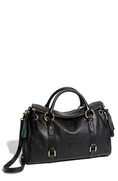$398, Black Leather Satchel Bag: Dooney