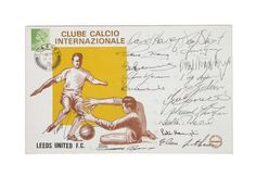 Leeds United hand signed F.D.C. A first day cover date stamped 11th February 1976 hand signed by 17 to the front by the 1969/70 European Cup squad including Joe Jordan, Billy Bremner, David Harvey, Peter Lorimer, Paul Reaney, Alan Clark and Mick Jones.