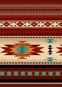 Tucson Southwest Aztec Indian Bear Stripe Turquoise Cotton Fabric Fat Quarter