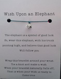 Lucky Elephant Wish Bracelet Sterling Silver