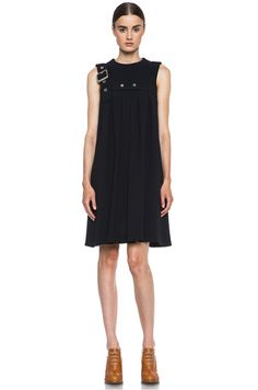 Chloe|Pleated Harness Acetate-Blend Dress in Navy [1]