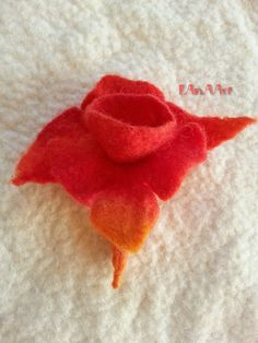 Fantasy Red Orchid hand felted flower brooch pin by LanAArt