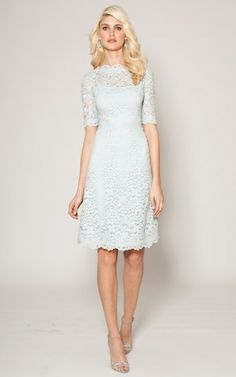 Powder Blue Boatneck Lace Dress for the Mother of the Bride #Motherofthebride #TeriJon #lace