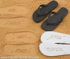 Custom Sand Imprint Wedding and Bridal Flip Flops. Personalize With Your Design. No Minimum Order Quantity.. $19.95, via Etsy.