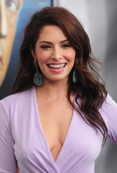 Sarah Shahi cleavage in a low cut purple dress