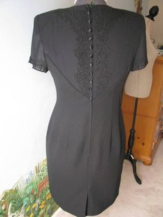 Donna Morgan Petites Sheer Back Short Sleeve Cocktail Black Dress SZ 8 #DonnaMorgan #Cocktail