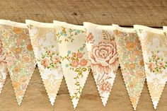 English Garden - Vintage Bunting Banner with 12 Flags. $22.00, via Etsy.