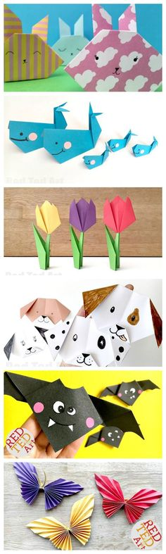 """Cute & Easy Origami for Kids. We love Origami! It isn't as difficult as people sometimes perceive it to be. Many Origami Projects are great for Beginners and Kids and look fabulous, regardless of how """"neat"""" the folding is. Here are some of our favourite Easy Origami for Kids ideas, that are a great way to introduce Origami folding to children. Great for fine motor skills, learning to follow instructions and co-ordination. Enjoy!"""