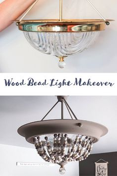 How to Turn a Builder Basic Light into a Beaded Light Diy Light Fixtures, Store Fixtures, Vintage Lighting, Easy Diy Projects, Thrifting, Diy Home Decor, Beads, Wood, Simple Jewelry